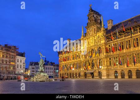 Night scene of Antwerp City Hall in the Grote Markt (Main Square), Belgium. - Stock Photo