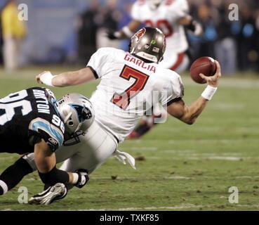Carolina Panthers defensive end Tyler Brayton (96) sacks Tampa Bay Buccaneers quarterback Jeff Garcia (7) at Bank of America Stadium in Charlotte, North Carolina on Monday, December 8, 2008. (UPI Photo/Nell Redmond) - Stock Photo