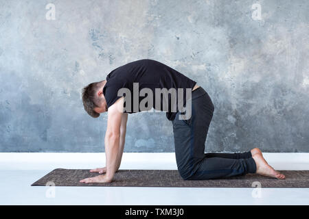 Young yogi men practices yoga asana bitilasana or cat cow pose - Stock Photo