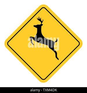 Wild animals traffic sign isolated on white background - Stock Photo