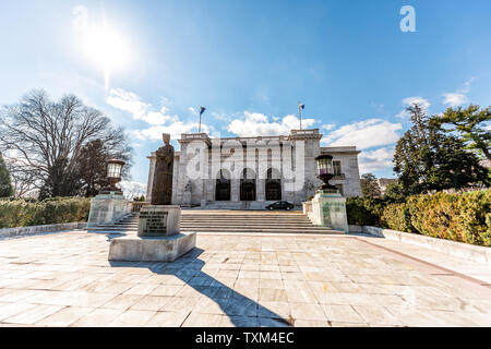 Washington DC, USA - March 9, 2018: Wide angle of Organization of American States or the OAS or OEA building in capital city - Stock Photo