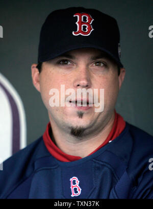 Game one winner Boston Red Sox pitcher Josh Beckett answers questions before the World Series game four at Coors Field in Denver on October 28, 2007.  Boston leads the Colorado Rockies in the series 3-0.   (UPI Photo/Gary C. Caskey) - Stock Photo