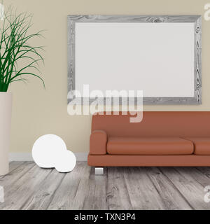 Big Mock up poster in a modern room with a bright wall and wooden floor, 3d rendering - Stock Photo
