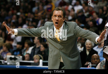 Detroit Pistons head coach Flip Saunders gestures late in the game against the Denver Nuggets at the Pepsi Center in Denver on February 25, 2008.  Detroit beat Denver 98-93.   (UPI Photo/Gary C. Caskey) - Stock Photo