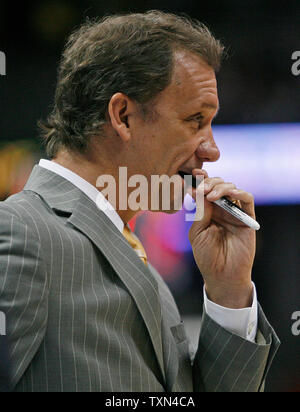 Detroit Pistons head coach Flip Saunders waits for his coaches after calling a timeout against the Denver Nuggets during the first half at the Pepsi Center in Denver on February 25, 2008.  (UPI Photo/Gary C. Caskey) - Stock Photo