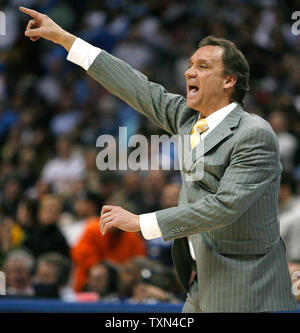 Detroit Pistons head coach Flip Saunders gestures during fourth quarter against the Denver Nuggets at the Pepsi Center in Denver on February 25, 2008.  Detroit beat Denver 98-93.   (UPI Photo/Gary C. Caskey) - Stock Photo