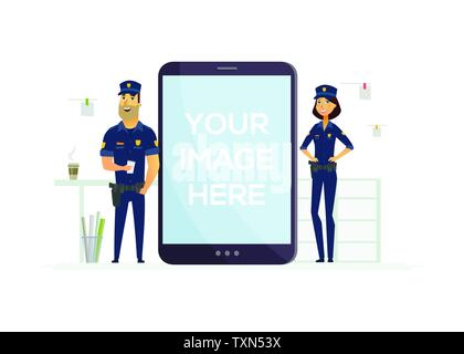 Police officers on duty - cartoon people characters illustration - Stock Photo