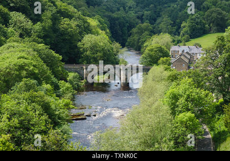 The Green Bridge over the river Swale at Richmond Swaledale North Yorkshire - Stock Photo