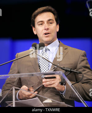 Mark Fields, Ford Motors President of the Americas hold the speaks after accepting the awards for the 2010 North American Car and Truck of the Year at the 2010 North American International Auto Show at the COBO Center in Detroit, MI., January 11, 2010. The Ford Fusion Hybrid won car of the year and the Ford Transit Connect  won the truck of the year award. UPI Photo/Mark Cowan - Stock Photo