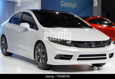 Honda debuted the 2012 Civic concept car at the 2011 North American International Auto Show at the Cobo Center in Detroit, January 10, 2011. UPI Photo/Mark Cowan - Stock Photo