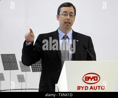 BYD America Corp Vice-President Micheal Austin details the partnership between the Los Angeles Housing Authority and BYD at the 2011 North American International Auto Show at the Cobo Center in Detroit, January 10, 2011. UPI Photo/Mark Cowan - Stock Photo