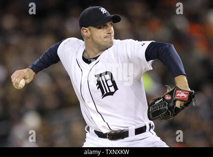 Detroit Tigers starting pitcher Max Scherzer delivers during the first inning of game 4 of the World Series against the San Francisco Giants at Comerica Park on October 28, 2012 in Detroit.   UPI/Molly Riley - Stock Photo