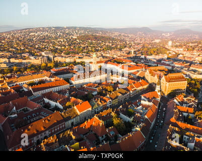 Aerial view of old town of Buda from above near Fishermans Bastion during a colourful sunrise in Budapest in autumn (Budapest, Hungary, Europe) - Stock Photo