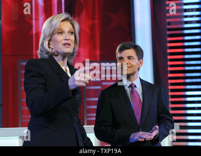 Moderator Diane Sawyer and George Stephanopoulos greet the candidates at the ABC News GOP Debate at Sheslow Hall on the campus of Drake University, Saturday December 10, 2011 in Des Moines, Iowa. The Iowa Caucus for the Republican presidential nomination is less than a month away on January 3, 2012.  UPI/Steve Pope - Stock Photo