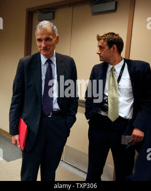 Independent presidential candidate Ralph Nader (L) attends the Democratic National Convention at the Pepsi Center in Denver, Colorado on August 27, 2008.  (UPI Photo/Brian Kersey) - Stock Photo