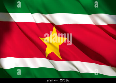 3d rendering of a Suriname national flag waving - Stock Photo