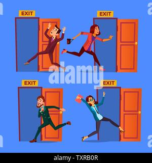 Character Evacuation To Open Door Exit Set Vector Stock Photo