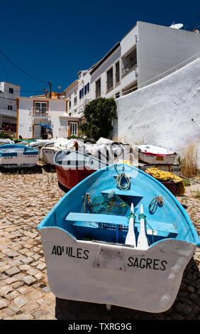 Fishing boats on Portuguese slipway - Stock Photo