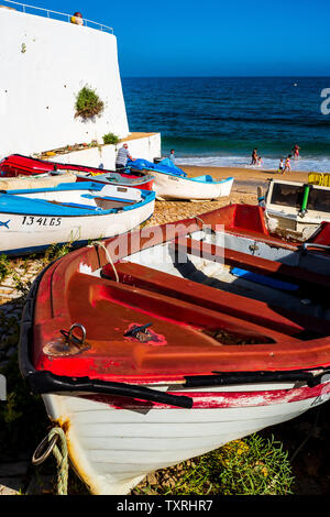 Fishing boats, Burgau, Algarve, Portugal - Stock Photo