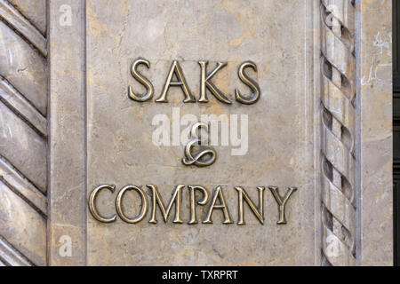 NEW YORK, USA - MAY 15, 2019: Saks Fifth Avenue on Fifth Aveneue in New York, USA, American chain of luxury department stores - Stock Photo
