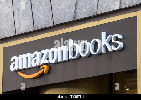 NEW YORK, USA - MAY 17, 2019: Amazon Books store in New York City. It is a chain of retail bookstores owned by the online retailer Amazon - Stock Photo