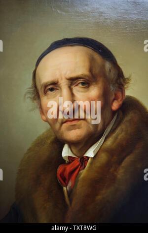 Portrait of German sculptor Johann Gottfried Schadow by German painter Julius Hübner (1832) on display in the Alte Nationalgalerie (Old National Gallery) in Berlin, Germany.