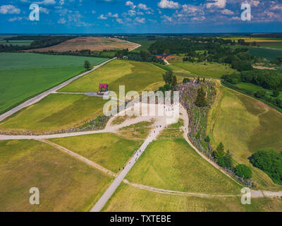 Aerial panoramic view of Hill of Crosses KRYZIU KALNAS . It is a famous religious site of catholic pilgrimage in Lithuania - Stock Photo