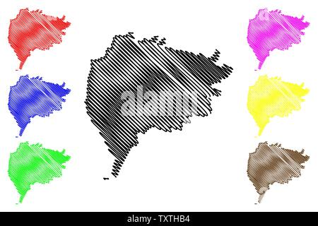 Taiz Governorate (Governorates of Yemen, Republic of Yemen) map vector illustration, scribble sketch Ta'izz map - Stock Photo