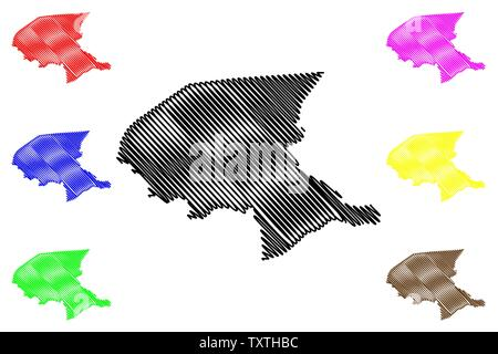 Shabwah Governorate (Governorates of Yemen, Republic of Yemen) map vector illustration, scribble sketch Shabwah map - Stock Photo