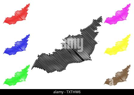 Lahij Governorate (Governorates of Yemen, Republic of Yemen) map vector illustration, scribble sketch Lahij map - Stock Photo