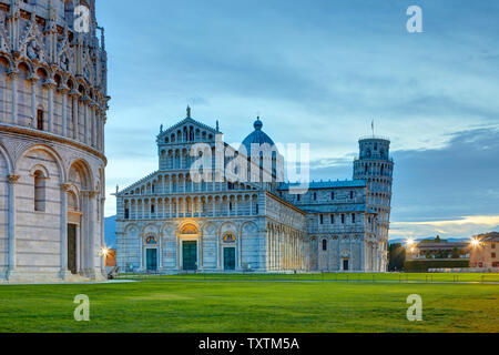 The Baptistery in the foreground, the Duomo and the leaning tower in the background, Pisa, Italy
