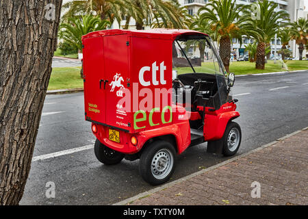 Red environmentally friendly Eco-vehicle used by postal service in Funchal, Madeira, Portugal, European Union - Stock Photo