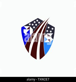 Letter AS with US flag logo design - Stock Photo