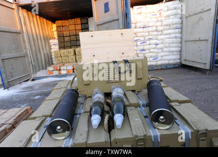 Iranian supplied arms seized by Israeli commandos are displayed for the press at the Ashdod Port on November 4, 2009. The Israeli Navy intercepted the Antiqua-flagged Francop vessel in the Mediterranean Sea carrying hundreds of tons of  Iranian supplied weapons bound for Syria. UPI/Debbie Hill - Stock Photo