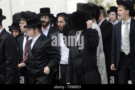 Ultra-Orthodox Israelis protest outside the Intel office in the Har Hotzvim Industrial Park in Jerusalem, November 14, 2009. The religious Jews attempted to break down Intel's doors because  the electronic chip maker operates it's factory on Saturday, the Jewish Sabbath.   UPI/Debbie Hill - Stock Photo
