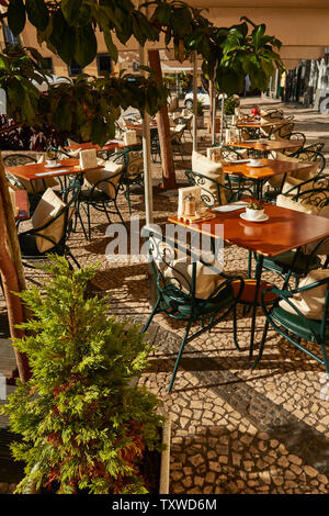 Restaurant in the Old Town of Funchal laid out awaiting tourist trade, Funchal, Madeira, Portugal, European Union - Stock Photo