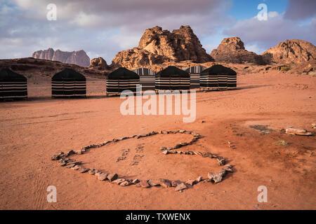 Tents in the desert Wadi rum, Jordan - Stock Photo