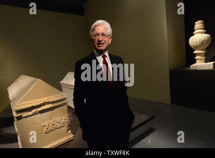 James Snyder, Director of the Israel Museum, stands in an exhibition  titled 'Herod the Great: The King's Final Journey,'  in the Israel Museum, Jerusalem, Israel, February 12, 2013. The exhibition deals with 40 years of archeological excavations of the life and legacy of King Herod who is remembered as the greatest builder in human history. He is known for elaborate palaces, fortresses, such as Masada, and the reconstruction of the Temple in Jerusalem during the Roman era. Herod ruled for over 30 years in what is now known as the West Bank and Israel. He was responsible for killing his wife a - Stock Photo