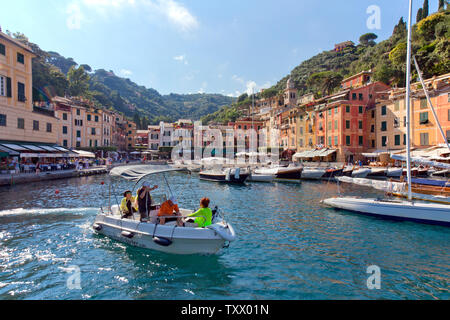 This Italian fishing village and holiday resort is famous for its picturesque harbour and historical association with celebrity and artistic visitors. - Stock Photo