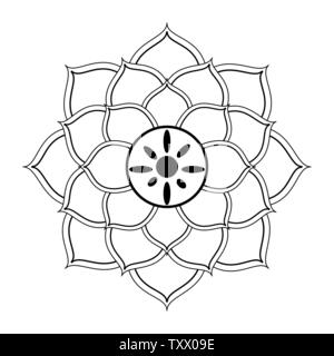 lotus blossom flowers icon cartoon in black and white - Stock Photo