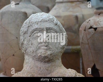 A close-up of one of two, late Roman period bust (3rd - 4th CE),presented by the Israel Antiquities Authority, that was recently discovered by a woman on a walk in Beth Shean in northern Israel, in their laboratories in Jerusalem, December 30, 2018.  Scholars say that the 1,7000 year old  limestone busts were placed at the entrance of burial caves and were probably the images of the deceased. Photo by Debbie Hill  /UPI - Stock Photo
