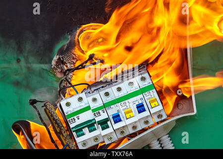 Bad electrical wiring systems in electrical panel became the caused of fire. - Stock Photo