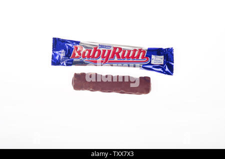 Nestle Baby Ruth candy bar opened & unwrapped - Stock Photo