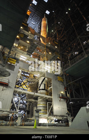NASA's Ares 1-X rocket is on view for the first time in the Vehicle Assembly Building (VAB) at the Kennedy Space Center in Florida on August 23, 2009. The Ares 1-X is scheduled for launch in late October to test the systems which will transport Astronauts to the International Space Station and eventually to the Moon and Mars.        UPI/Joe Marino-Bill Cantrell - Stock Photo