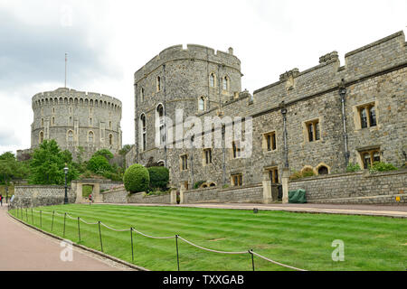 Round Tower, Saxo Tower and military knights lodgings at Low Ward of Windsor Castle, photographed in June 2019 - Stock Photo
