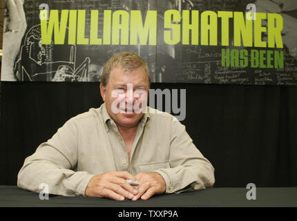 Actor William Shatner poses for photographers during a promotion of his new music album, ' Has Been. Better to be a Has Been that a Never Was!' at the Tower music store in Los Angeles, October 5, 2004. (UPI Photo/Francis Specker) - Stock Photo