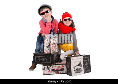 Boy and girl on Travel - Stock Photo