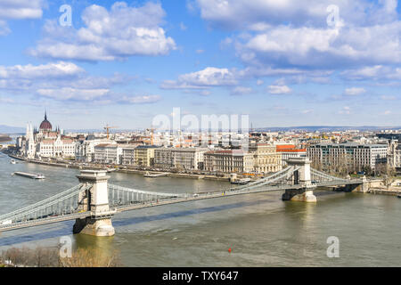 BUDAPEST, HUNGARY - MARCH 2018: The River Danube and the Chain Bridge in Budapest with the city in the background. - Stock Photo
