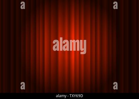 Closed silky luxury red cinema curtain stage background spotlight beam illuminated. Theatrical drapes. Vector gradient illustration - Stock Photo