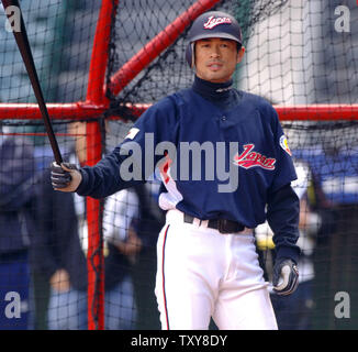 reputable site a3f86 df635 seattle-mariners-right-fielder-ichiro-suzuki-playing-for-japan-in-the-world- baseball-classic-waits-for-the-pitch-during-batting-practice-at-angel-stadium-in  ...